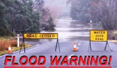 flood warning road sign