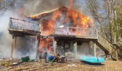 burning debris